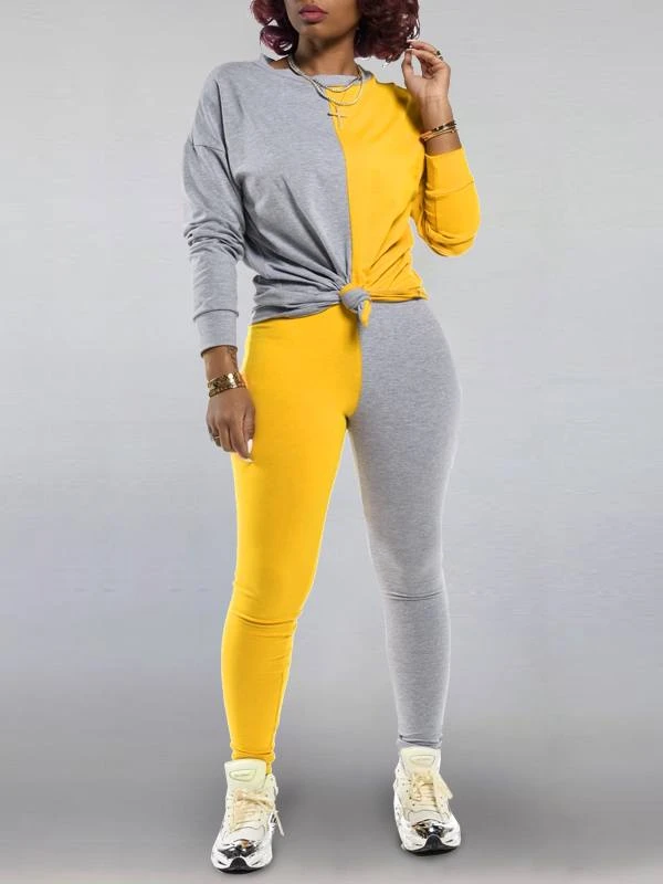 Two-Tone Sweatshirt & Pants Set