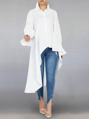Bell-Sleeve High-Low Shirt