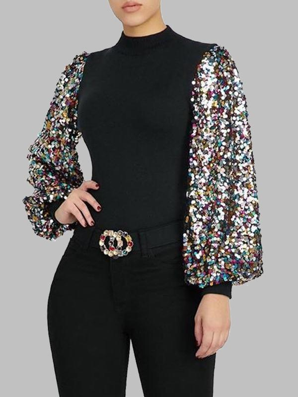 Sequin Puff-Sleeve Top