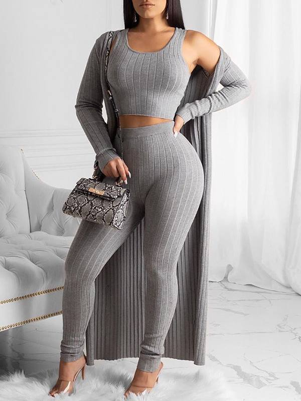 Ribbed Cardigan & Pants Set
