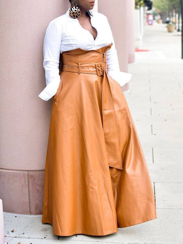 High-Waist Belted PU Skirt
