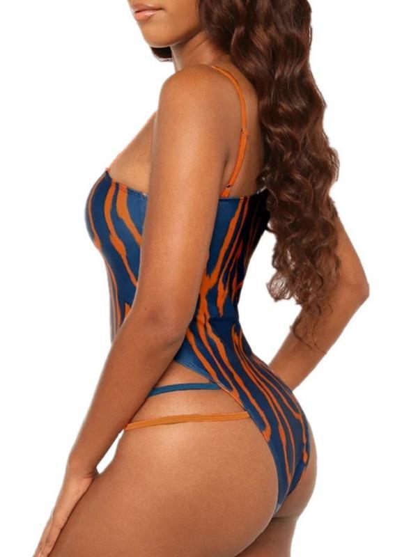 Printed One-Shoulder One-Piece Swimsuit