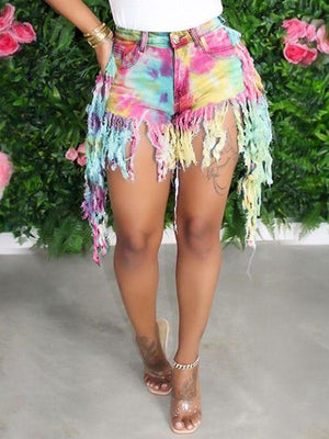 Tie-Dyed Fringe Denim Shorts