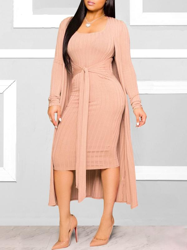 Ribbed Cardigan & Dress Set