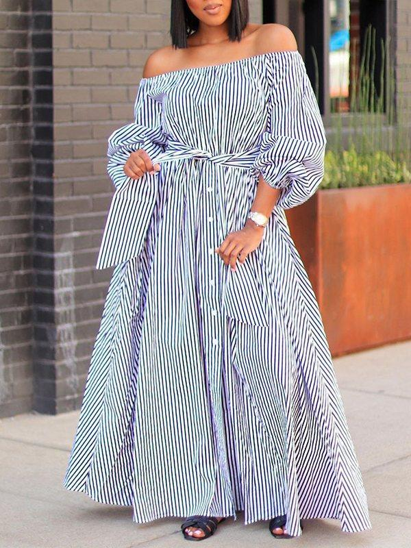 Striped Off-Shoulder Shirt Dress