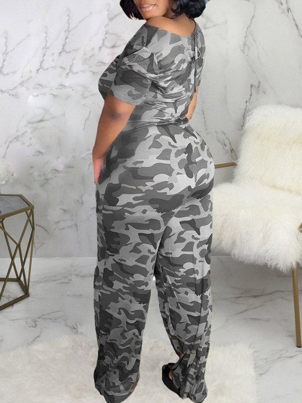 Camo Wide Leg Jumpsuit
