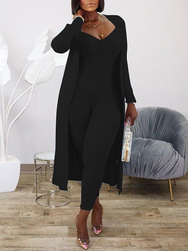 Ribbed Jumpsuit & Cardigan Set