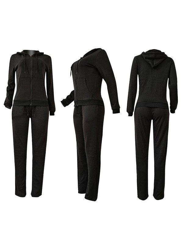 Zip-Front Hoodie & Straight Pants Set