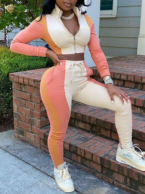 Colorblock Zip-Front Crop Top & Pants Set