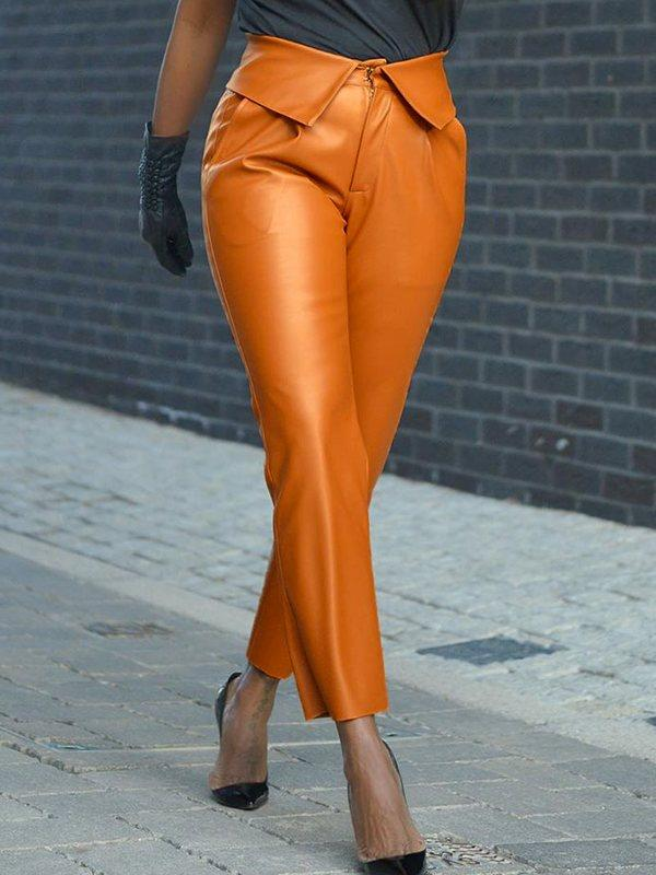 Faux-Leather High-Waist Pants