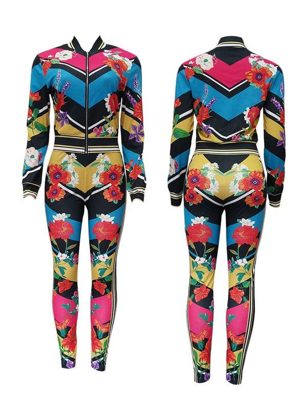 Floral Bomber Jacket & Pants Set