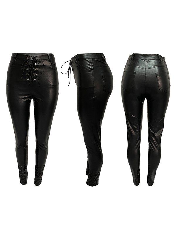 Lace-Up Faux-Leather Skinny Pants