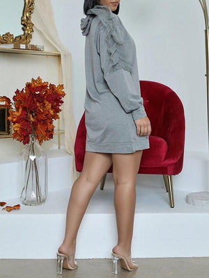 Frilled Hoodie Dress