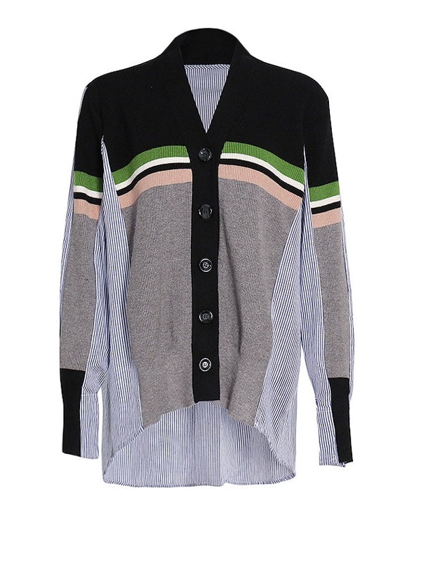 Stripe Combo Colorblock Cardigan