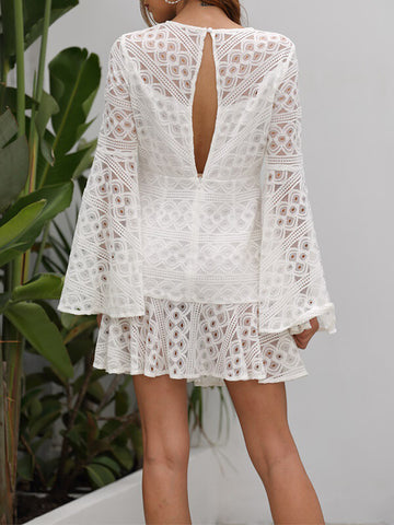 White Bell-Sleeve Lace Dress
