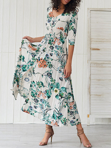 Floral Button-Down Cinched-Waist Dress