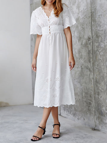 Embroidery Button-Down Dress