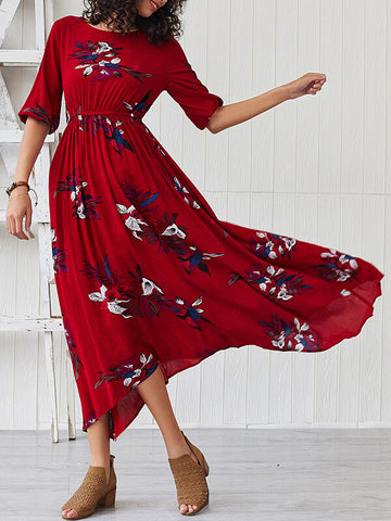 Floral Cinched-Waist Dress