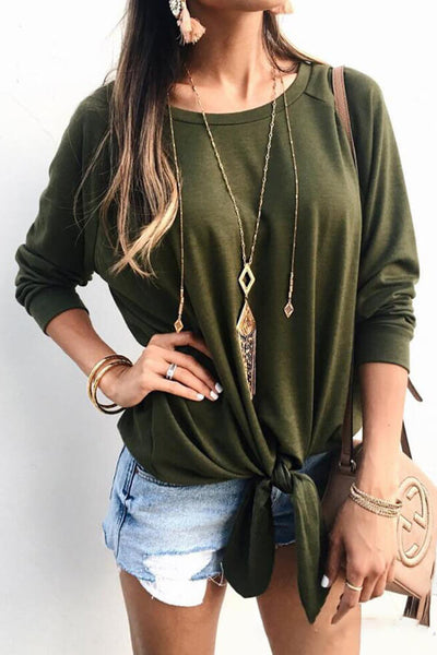 Tied-Front Round-Neck Top