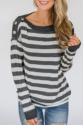 Stripe Button-Sleeve Top