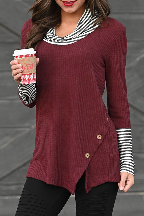 Stripe Combo Cowl-Neck Top