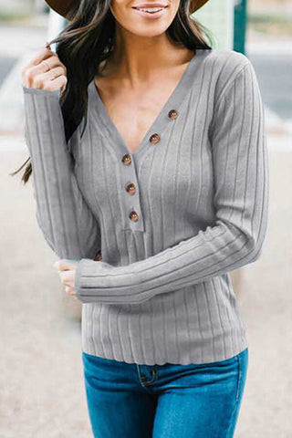 V-Neck Button-Up Ribbed Top