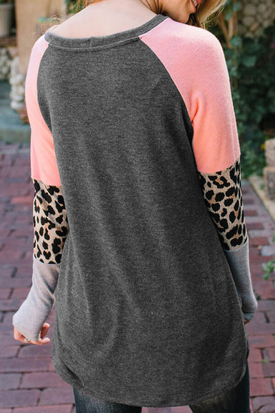 Leopard Combo Colorblock Top