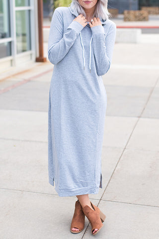 Side-Slit Hoodie Dress