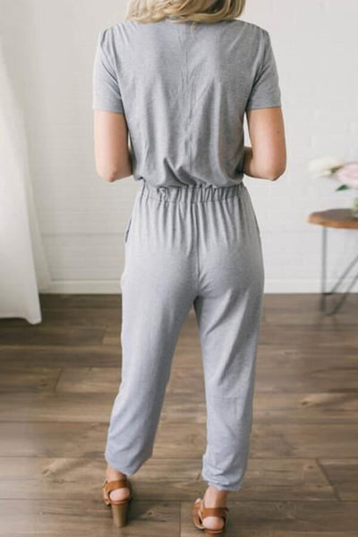 Solid V-Neck Drawstring Jumpsuit