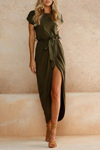 Solid Slit Belted Dress