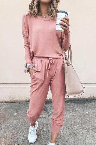 Solid Tee & Drawstring Pants Set