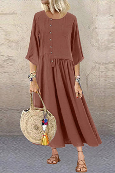 Asymmetric Button-Down Dress
