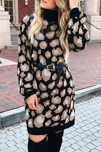 Leopard Turtleneck Knit Dress
