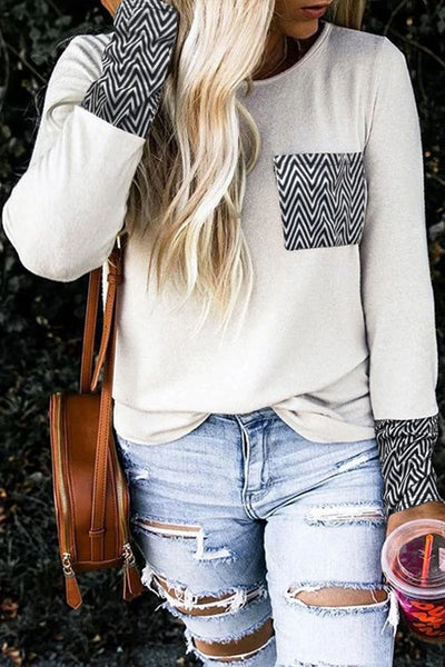 Contrast Round-Neck Top