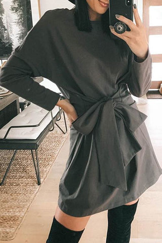 Black Tied-Front Dress