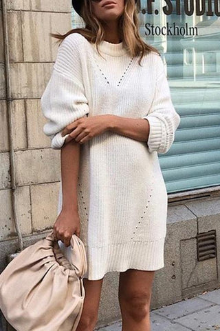 White Round-Neck Sweater Dress