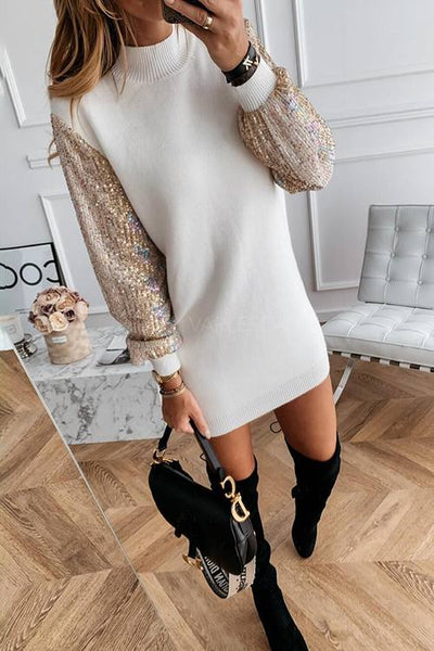 Sequin Combo Pullover Dress