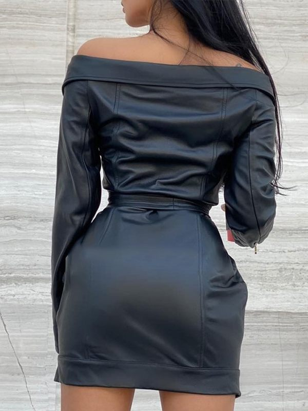 Off Shoulder Faux Leather Motto Dress