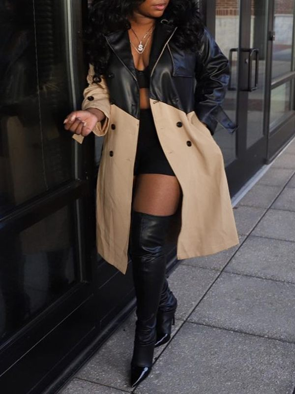 Faux-Leather Combo Trench