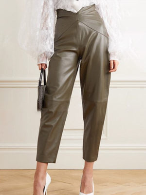 Asymmetric Faux-Leather Pants