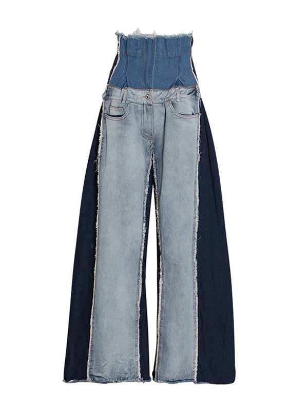 Patchwork High-Waist Jeans