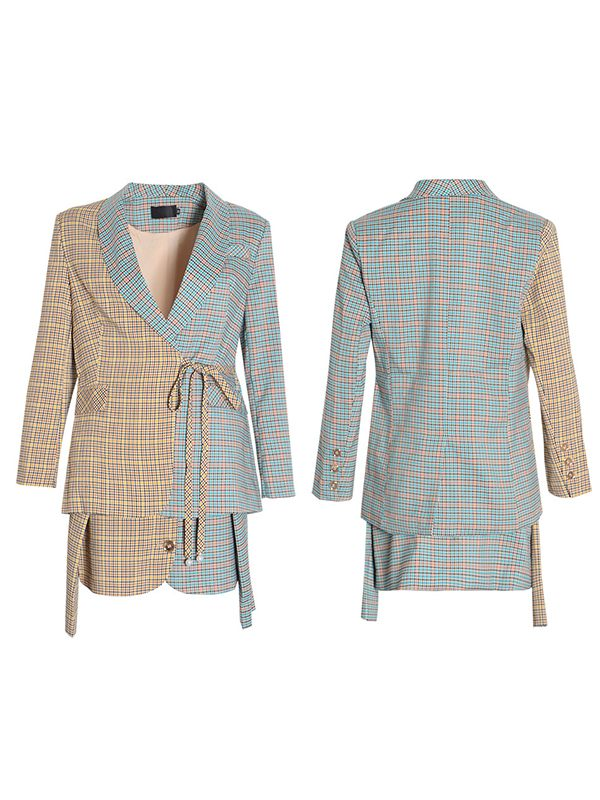 Plaid Blazer & Skirt Set