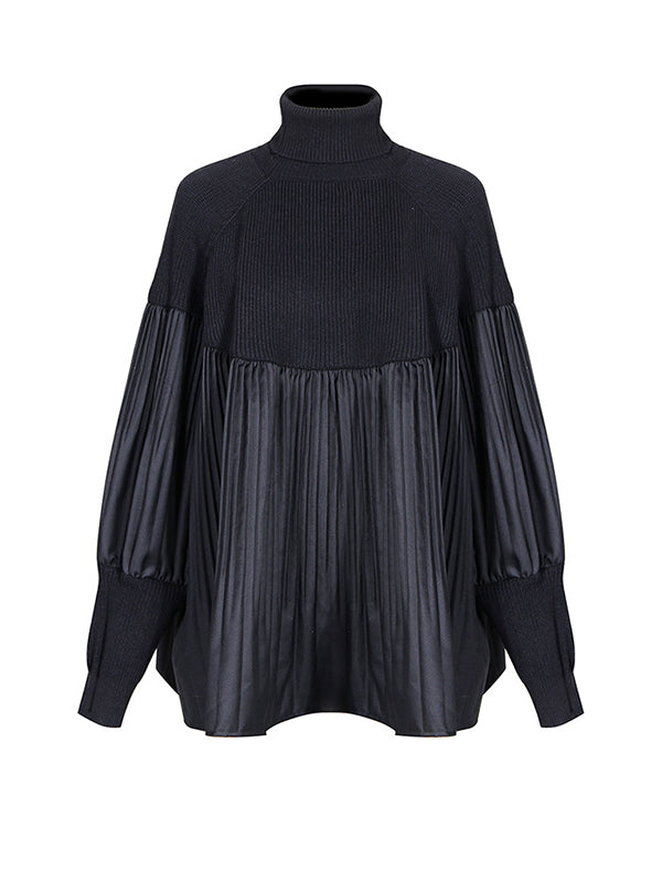 Pleated Combo Turtleneck Sweater
