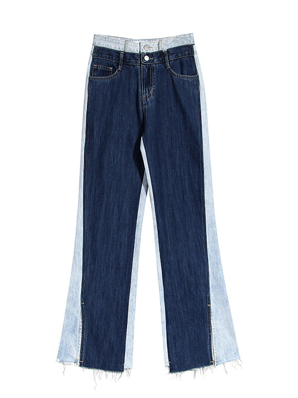 Two-Tone Combo Wide-Leg Jeans
