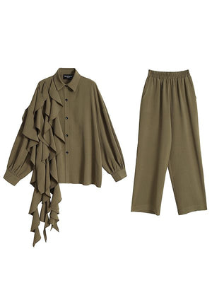 Solid Cascading Shirt & Pants Set