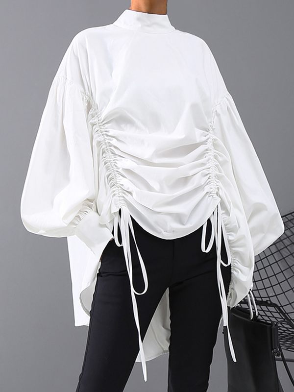 Puff Sleeve Drawstring Top