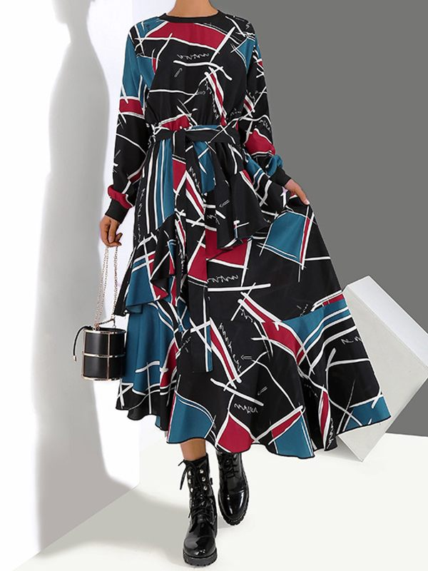 Abstract Ruffle Dress