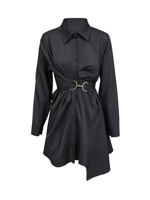 Asymmetic Hem Shirt Dress