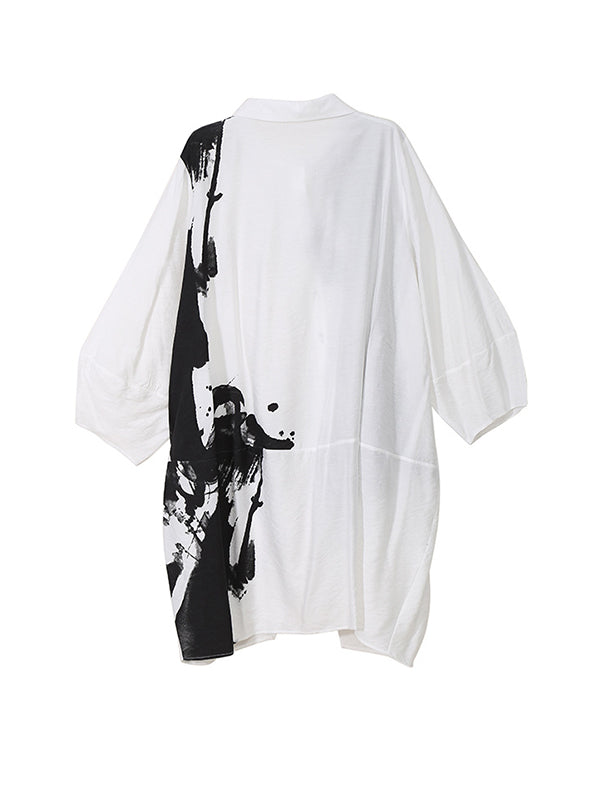Monochrome Artwork Shirt Dress