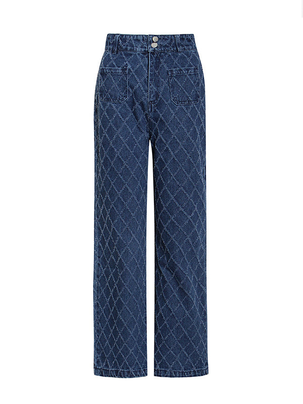 Checked Straight-Leg Jeans
